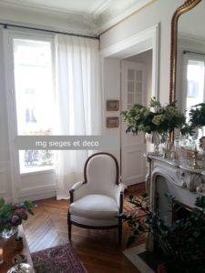 bergère Louis XVI rideaux lin